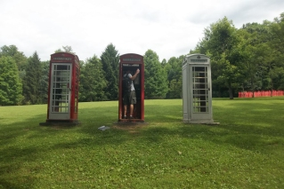 Kentuck Knob sculpture garden - Jesse inside the phone booths